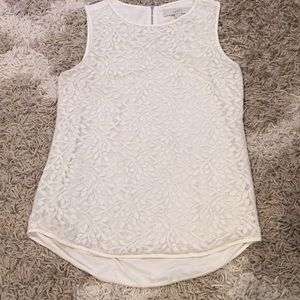 LOFT lace tank in ivory, size Small